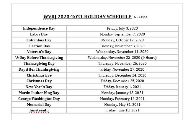 20.21 Holiday Schedule